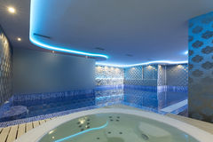 Interior of a luxury spa center with jacuzzi bath Royalty Free Stock Photos