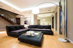 Interior of a luxury spacious living room Stock Photography