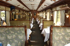 Interior of Luxury Train to Machu Picchu in Peru. The interior od a railroad car on the Orient Express from Cusco to Machu Picchu, Peru, South America Stock Photo