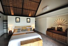 Interior of luxury tropical villa. / bedroom stock images
