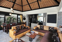 Interior of luxury tropical villa Stock Photos