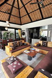 Interior of luxury tropical villa. /Lounge area stock photo