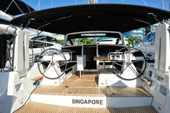Interior of a luxury yacht at Singapore Yacht Show Stock Photo