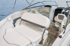Interior of luxury yacht. stock photo