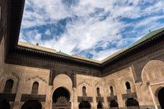 Interior of a madrassa, coranic school, in Fez Royalty Free Stock Photo