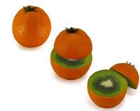 Interior maduro de las naranjas como el kiwi Foto de archivo libre de regalías