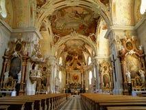 Interior magnífico de Wilten Abbey Basilica en Innsbruck Foto de archivo