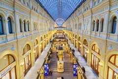 Interior of Main Department store GUM is the large store in the Kitai-gorod in Moscow. Russia. Moscow, Russia - January 29, 2018: Interior of Main Department royalty free stock image