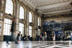 Interior of Main hall of Sao Bento Railway Station in Porto Stock Photos