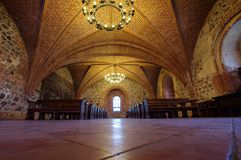 Interior of main hall of Trakai castle in Lithuania. Low angle view of historical medieval Trakai castle in Trakai, Lithuania Royalty Free Stock Image