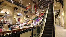 Interior Main Universal Store (GUM) in the Christmas (New Year) holidays, Red Square, Moscow, Russia stock video