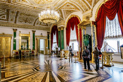 The interior of the malachite room in the Hermitage Museum in St Stock Photo