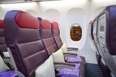 Interior malaio de Boeing 737 das linhas aéreas Fotografia de Stock Royalty Free