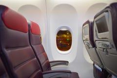 Interior malaio de Boeing 737 das linhas aéreas Imagem de Stock