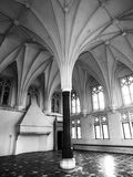 Interior of Malbork Castle, aka Marienburg, central pillar and radial vault ceiling in Summer Refectory, Pomerania. Region, Poland, Europe. Black and white Royalty Free Stock Photography