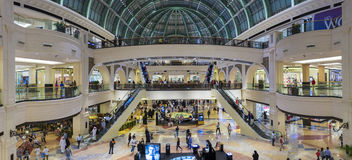 Interior of the Mall of the Emirates in Dubai. Interior and large arched roof in Shopping Mall of the Emirates in Dubai downtown. United Arab Emirates in 2016 Royalty Free Stock Images