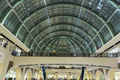 Interior of the Mall of the Emirates in Dubai. Interior and large arched roof in Shopping Mall of the Emirates in Dubai downtown. United Arab Emirates in 2016 Stock Image