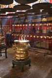 Interior of Man Mo Temple in Hk. Incense Coils in Man Mo temple. Hong Kong Stock Photo