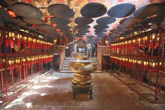 Interior of Man Mo Temple in Hk. Incense Coils in Man Mo temple. Hong Kong Stock Images