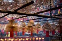 Interior Man Mo Temple Hong Kong. Interior circular incense Man Mo Temple Hong Kong, China Royalty Free Stock Photography