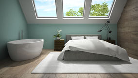 Interior of mansard badroom with blue wall 3D rendering Stock Image