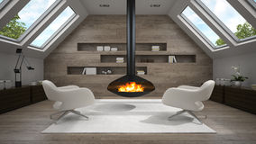 Interior of mansard room with fireplace 3D rendering. Interior  of mansard room with fireplace 3D rendering Stock Photo