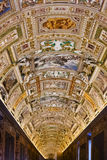 Interior of Maps Gallery in Vatican museum Royalty Free Stock Images