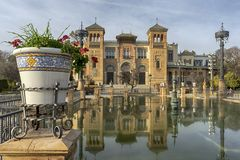 Interior of the María Luisa park in the city of Seville. Beautiful Mudejar Pavilion of the María Luisa park in the city of Seville Royalty Free Stock Photography