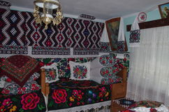 Interior in Maramures. Rustic interior in an old house from Maramures - Romania Stock Photo