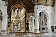 Interior with marble statues in Grote Kerk Den Haag. HAGUE, NETHERLANDS-AUGUST 01, 2014: Interior with marble statues in Grote Kerk Den Haag or Grote of Sint Royalty Free Stock Image