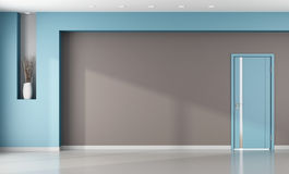 Interior marrón y azul vacío minimalista Imagen de archivo