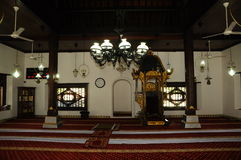 Interior of Masjid Kampung Hulu in Malacca, Malaysia. MALACCA, MALAYSIA – NOVEMBER 4, 2013: Kampung Hulu Mosque is an old mosque in Malacca City, and is the Royalty Free Stock Image