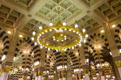 Interior of Masjid (mosque) Al Nabawi in Medina Royalty Free Stock Photography