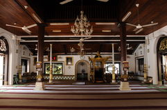 Interior of Masjid Tengkera (Tranquerah Mosque) in Malacca Royalty Free Stock Photography
