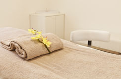 Interior of massage room, bed Royalty Free Stock Image