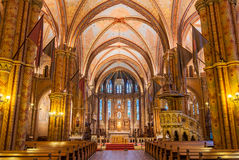 Interior of the Matthias Church is a Roman Catholic church located in Budapest. BUDAPEST, HUNGARY - FEBRUARY 23, 2016: Interior of the Matthias Church is a Roman Royalty Free Stock Image