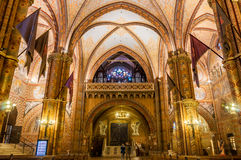 Interior of the Matthias Church is a Roman Catholic church located in Budapest. BUDAPEST, HUNGARY - FEBRUARY 23, 2016: Interior of the Matthias Church is a Roman Stock Image