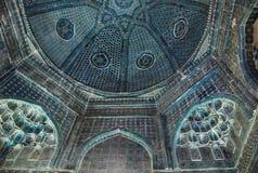 The interior of the mausoleum Shodimulk Oko in the necropolis Shahi Zinda stock photo