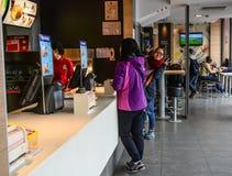 Interior of McDonald restaurant royalty free stock photo
