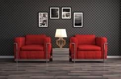 Interior med stolen illustration 3d Royaltyfri Fotografi