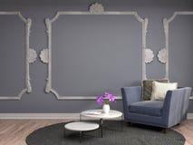 Interior med stolen illustration 3d Arkivfoto