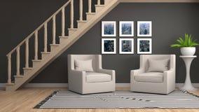 Interior med stolen illustration 3d vektor illustrationer