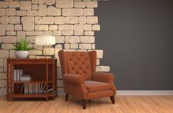 Interior med stolen illustration 3d royaltyfri illustrationer
