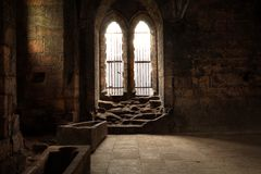 Interior of medieval abbey. Royalty Free Stock Photo