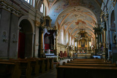 Interior of medieval church Royalty Free Stock Photo