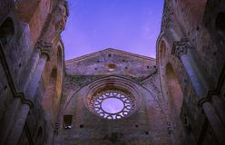 Detail of the interior of San Galgano Abbey, Tuscany. Interior of medieval San Galgano Abbey at the sunset, Tuscany, Italy Royalty Free Stock Image