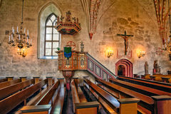 Interior of medieval stone church of Hollola Stock Photos