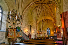 Interior of medieval stone church of Hollola Stock Photo