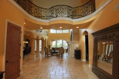 Interior of Mediterranean Home. Interior or luxurious custom meridian hHome in the most affluent neighborhood of Sacrament Stock Photos