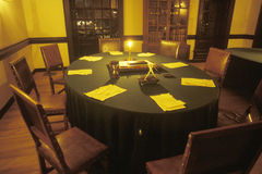 Interior of meeting place of founding fathers by candlelight, Williamsburg, Virginia stock photo